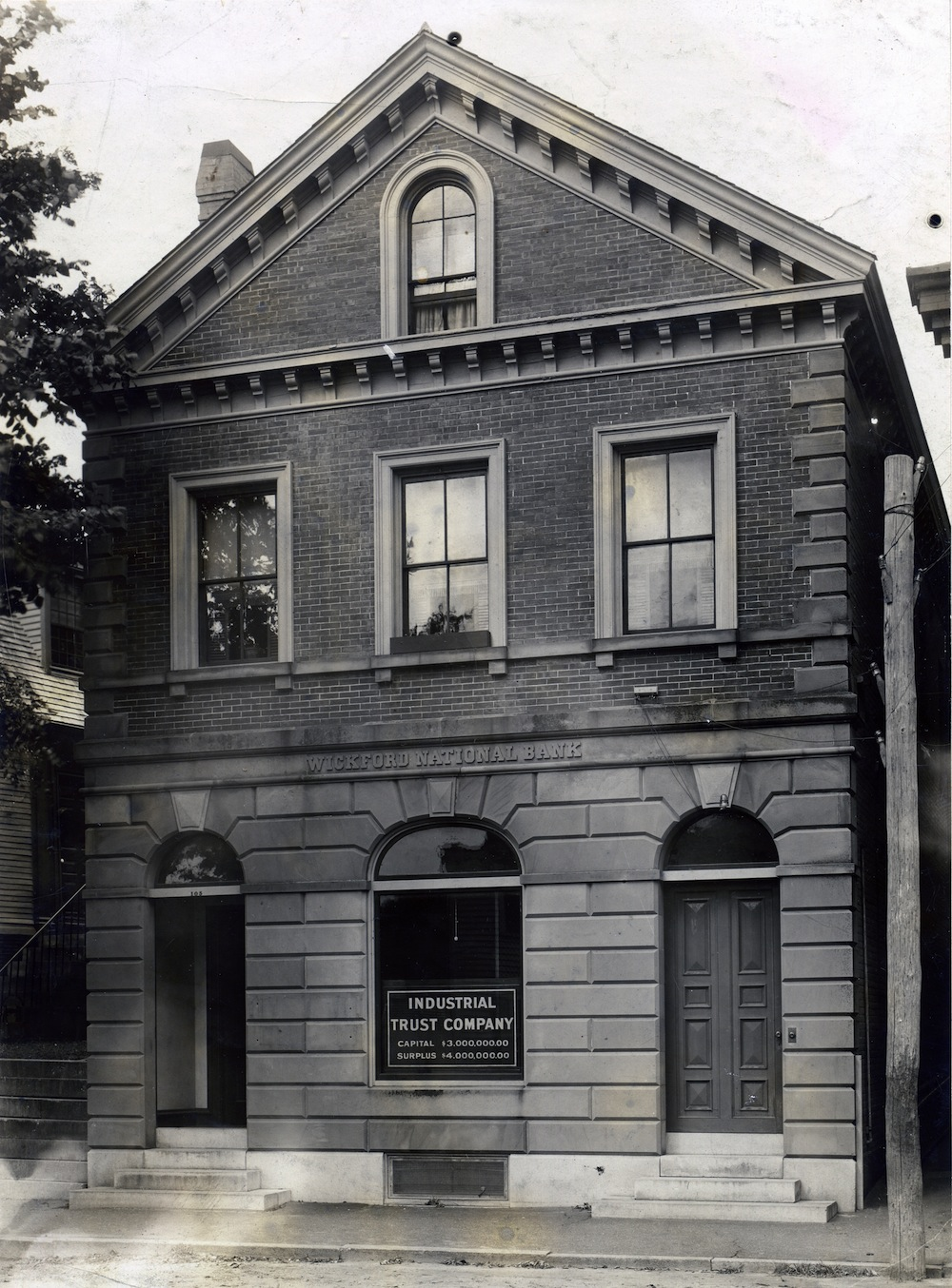 The Wickford National Bank building as an Industrial Trust branch, sometime after 1902.