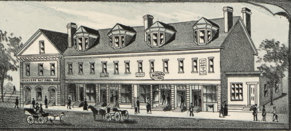 A map from 1888 depicts the Wickford National Bank on the Avis Brick Block. (Source: Library of Congress.)