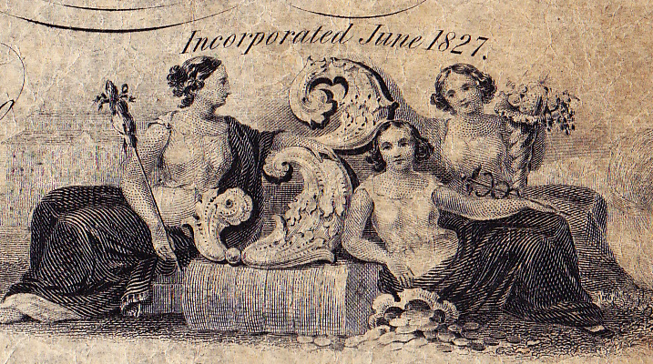 Detail of the counter, with three figures representing the denomination.