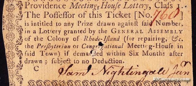 Providence Meeting House Lottery Ticket