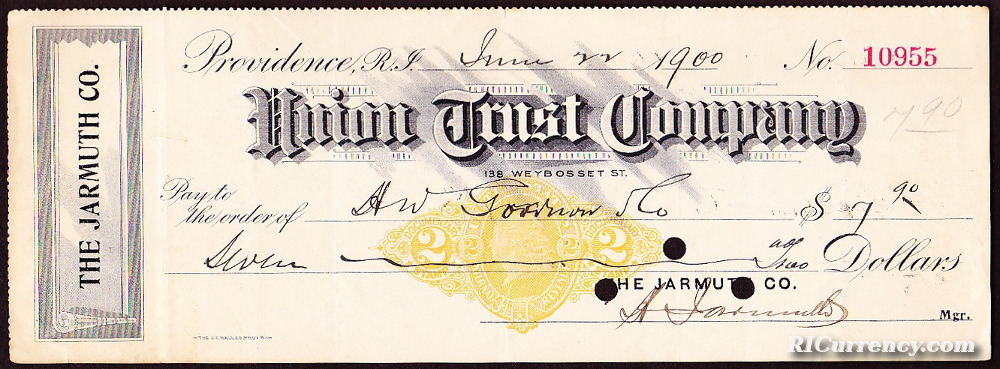 Union Trust check dated June 22, 1900.