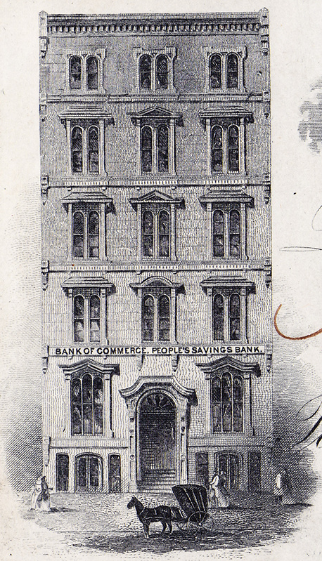 Detail from a check showing the Bank of Commerce's building.