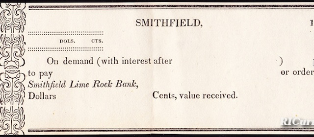 Smithfield Lime Rock Bank Post Note