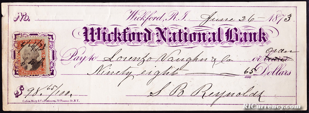 Check from June 26, 1863.