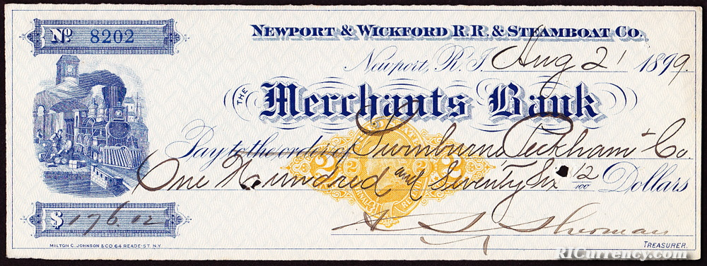 Bank check from August 2, 1899.