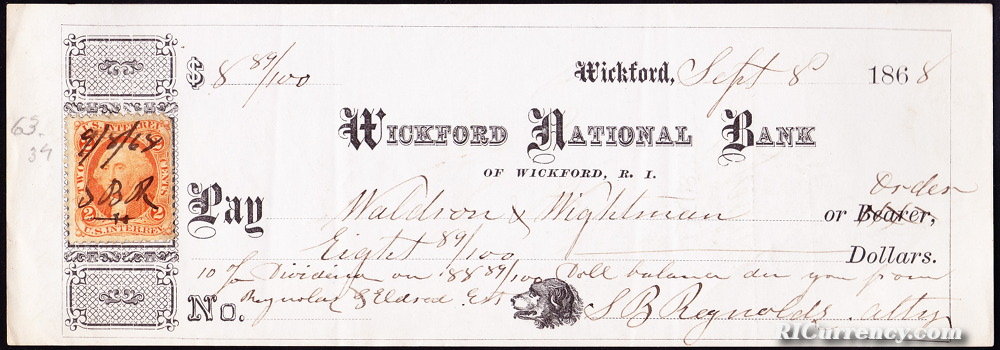 Check from September 8, 1868.