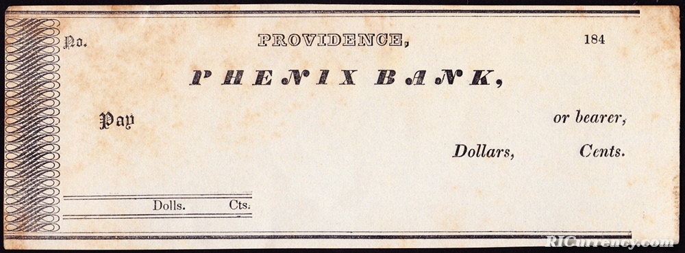 A blank bank checks from the 1840s.