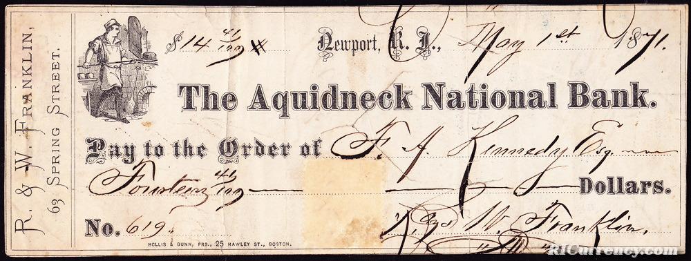 Bank check from 1871.