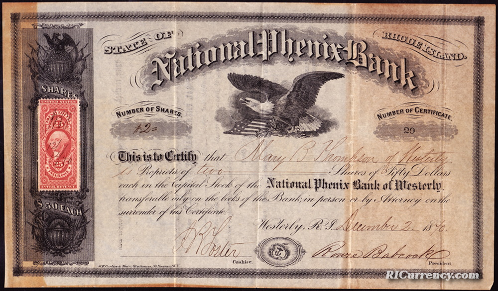 Stock certificate from the National Phenix Bank, December 2, 1870.