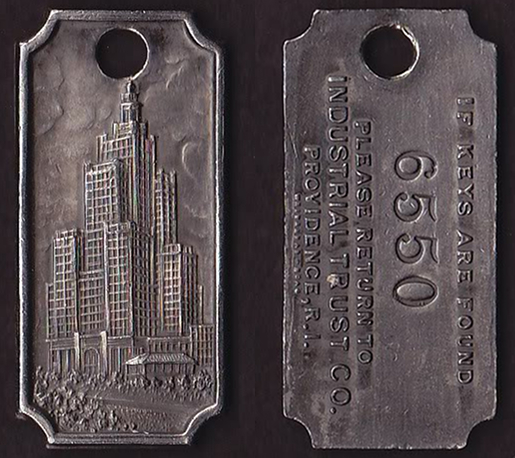 Safe deposit box key fob, for the vault within the Industrial Trust Tower.