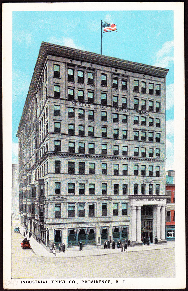 The Industrial Trust Company constructed this building for its quarters in 1893. It was located at the corner of Exchange and Westminster.