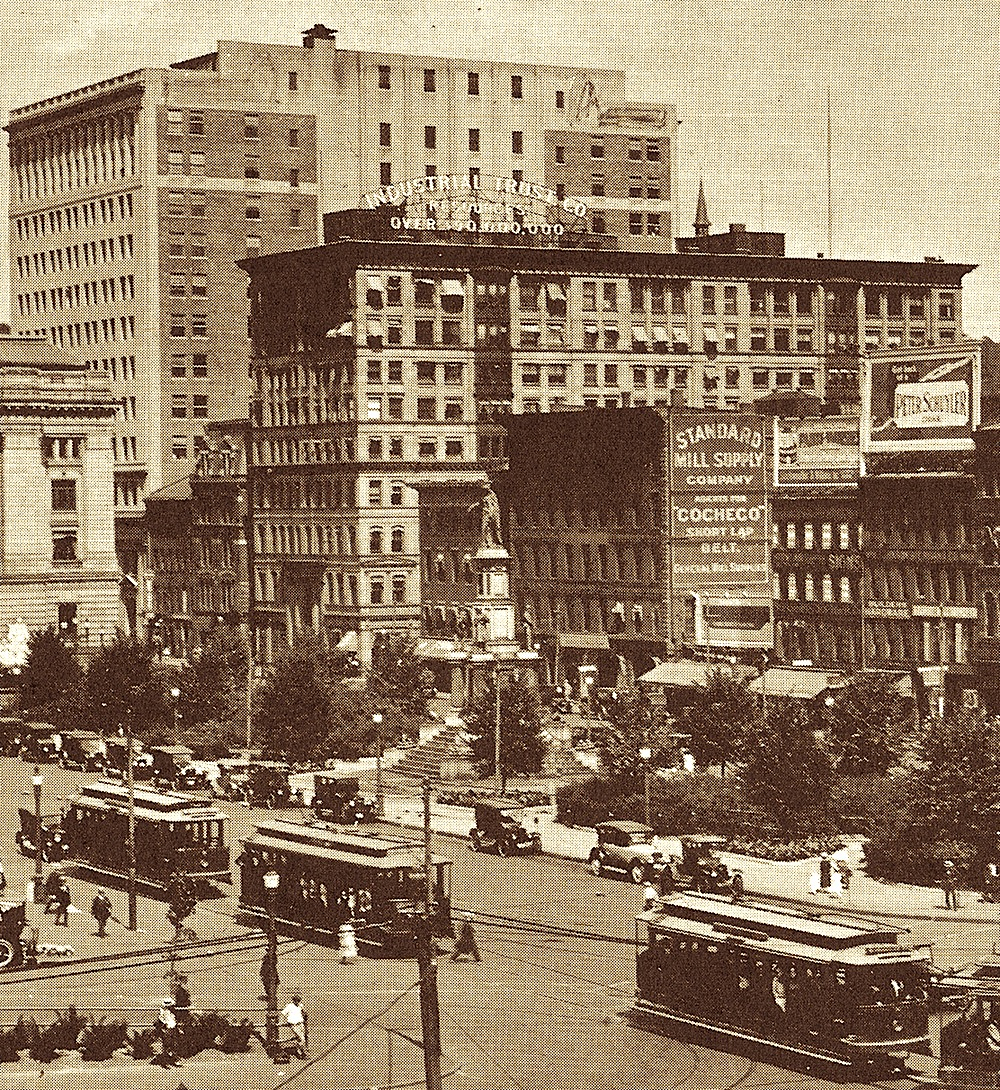 The Industrial Trust Building on Exchange Street seen from Exchange Place (now Kennedy Plaza).