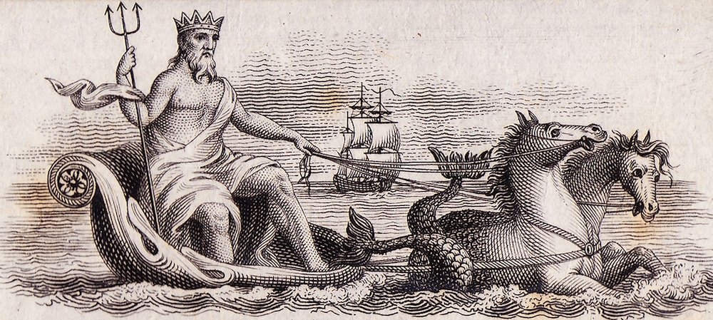 Neptune in his triumphal chariot drawn by hippocamps.