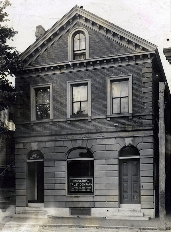 Industrial Trust's branch in Wickford, sometime after 1902. It formerly houses the Wickford National Bank.Wickford National Bank, WC 0034. Rhode Island Collection, Providence Public Library, Providence, R.I. Reprinted with permission.