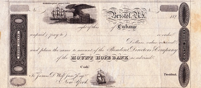 Mount Hope Bank Bill of Exchange