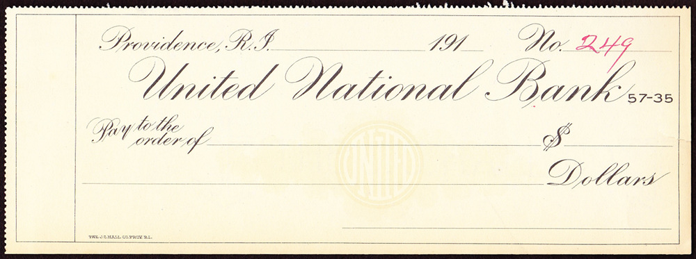 A blank United National Bank check from the 1910s.