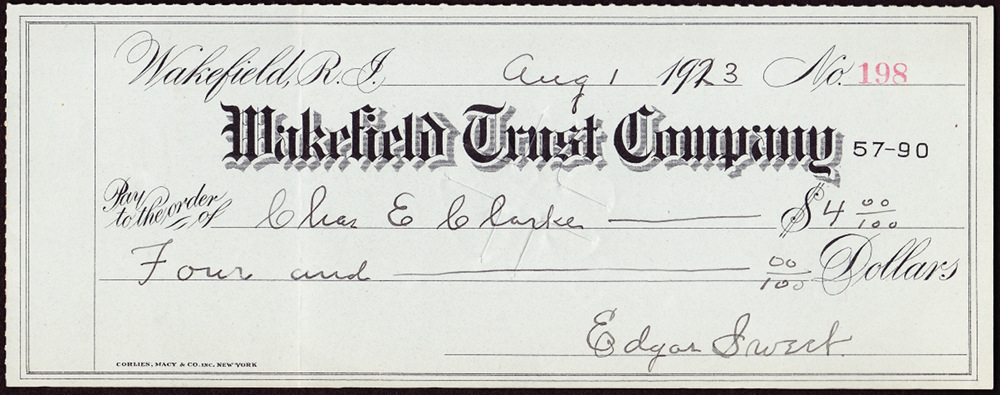 A bank check from 1923 on Wakefield Trust, signed by Edgar Sweet.