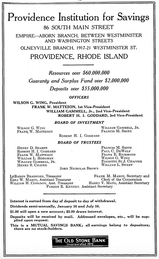 An advertisement from The Providence House Directory and Family Address Book, 1931-1932.