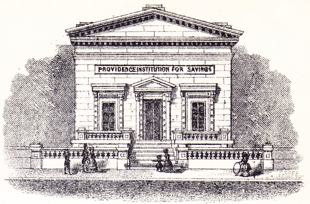 Detail of bank façade on check.