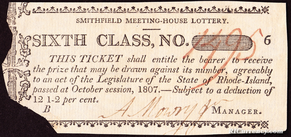 Smithfield Meeting House Lottery Ticket