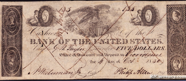 Second Bank of the United States $5