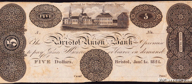 Bristol Union Bank $5